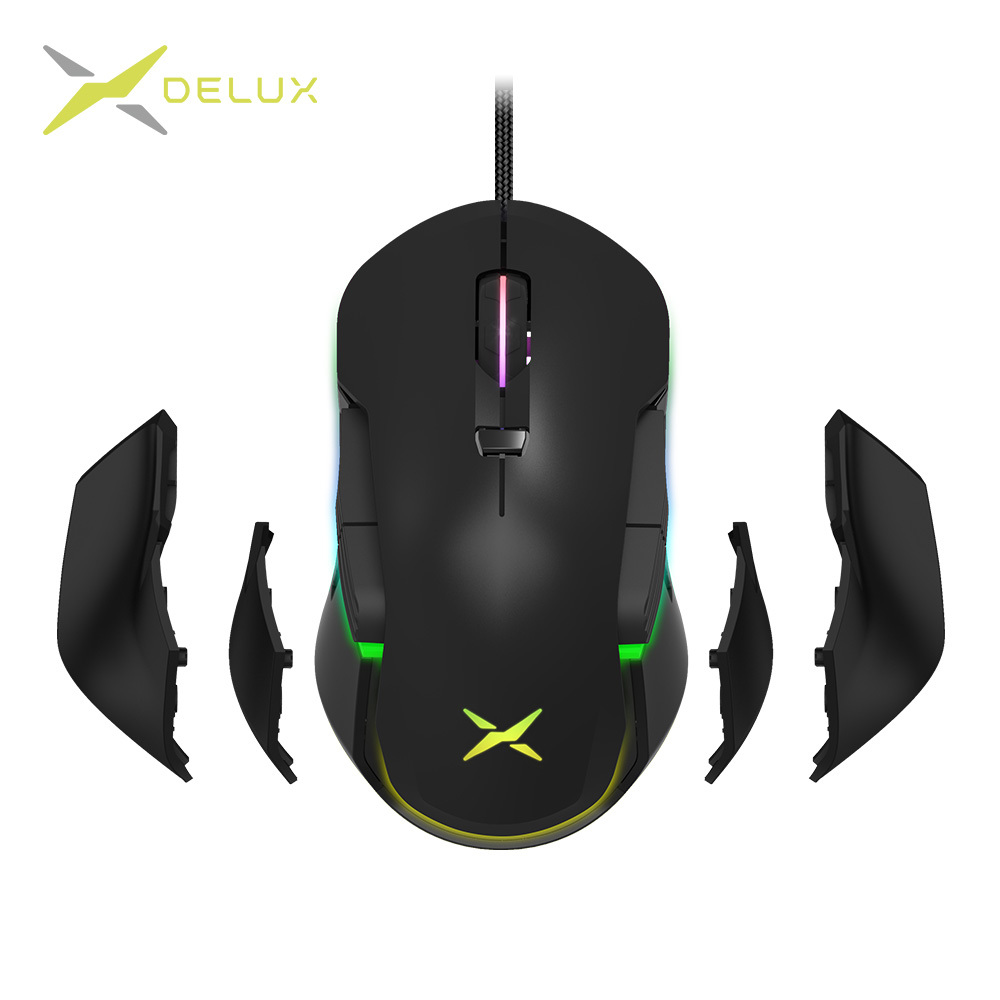 Delux M627S PMW3389 Sensor Wired Gaming Mouse 8 Buttons 16000 DPI RGB Backlight Optical Left And Right Hand Mice DIY Side Wings