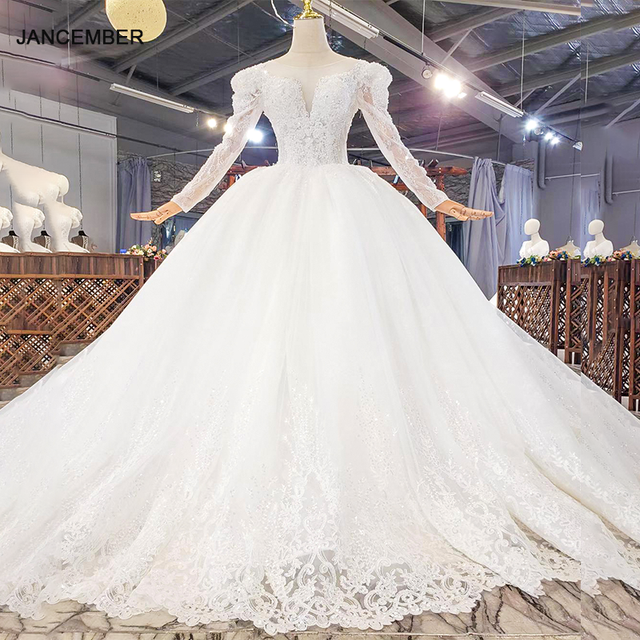 HTL1821 Luxurious Sequined Beading Crystal Fiowers White Wedding Dress 2020 V-Neck Long Sleeve Ball Gowns 1