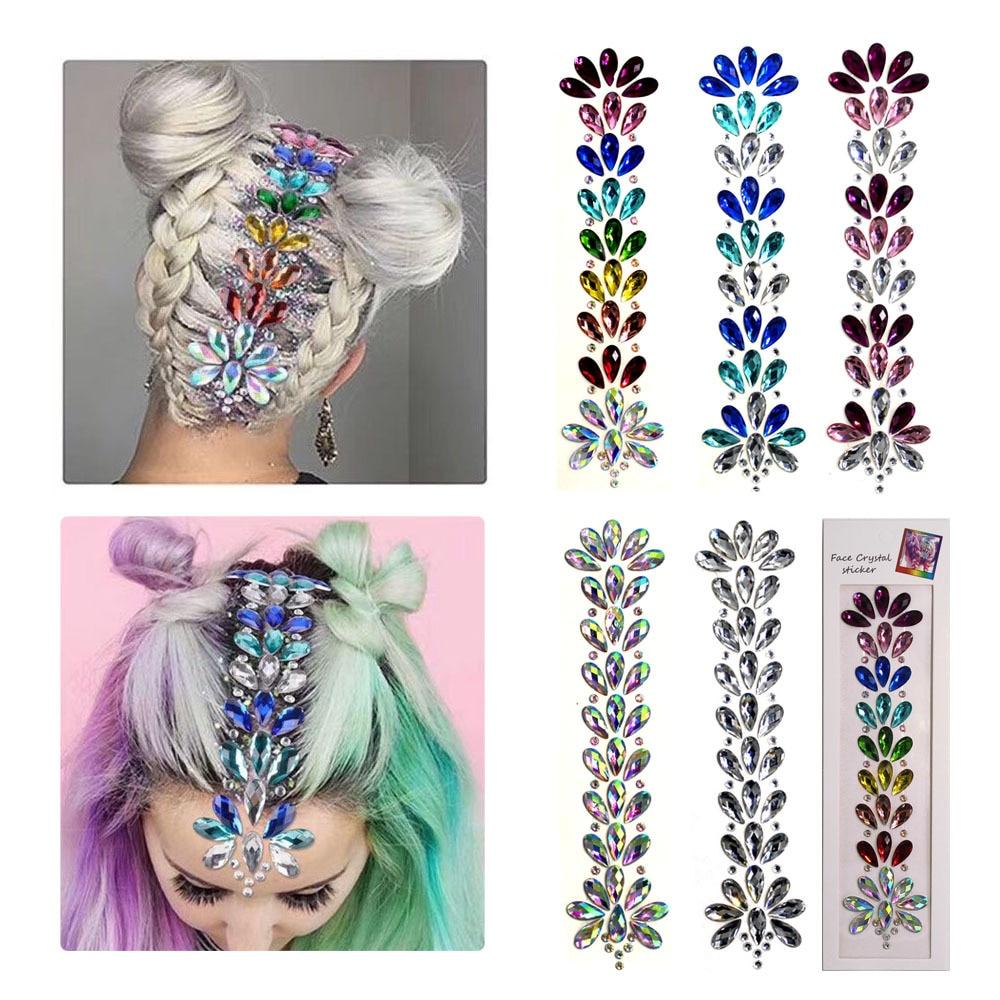3D Хрустальная наклейка на лоб, музыка, праздничные волосы, блестящие стразы, украшение тела, модные стразы, наклейки для Временной Татуировк...
