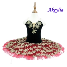 Red Sequin Ballerina Dress Women Children Swan Lake Costume Ballet Tutu For Girls Adult Party Performance Dancewear