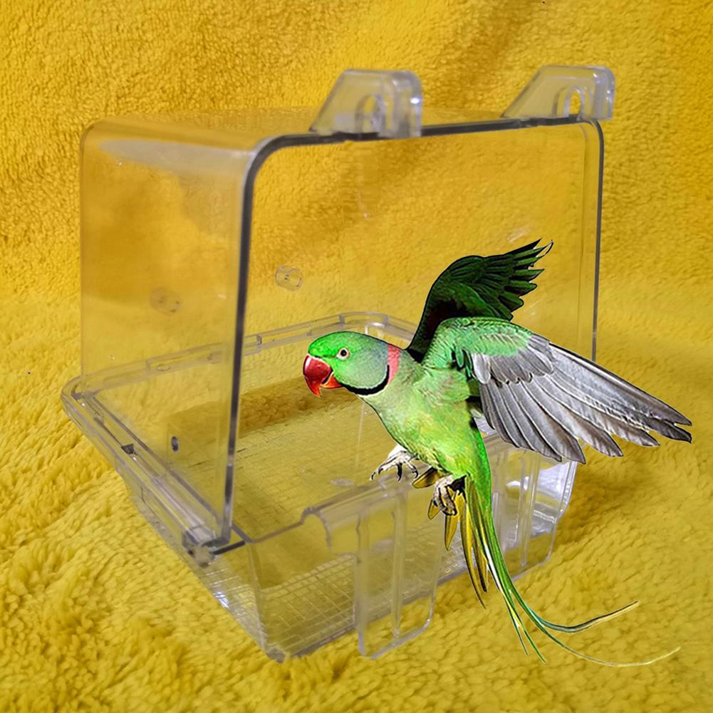 Pet Bird Parrot Clear Shower Bathing Tub Box Hanging Bathtub Cage Cleaning Tool