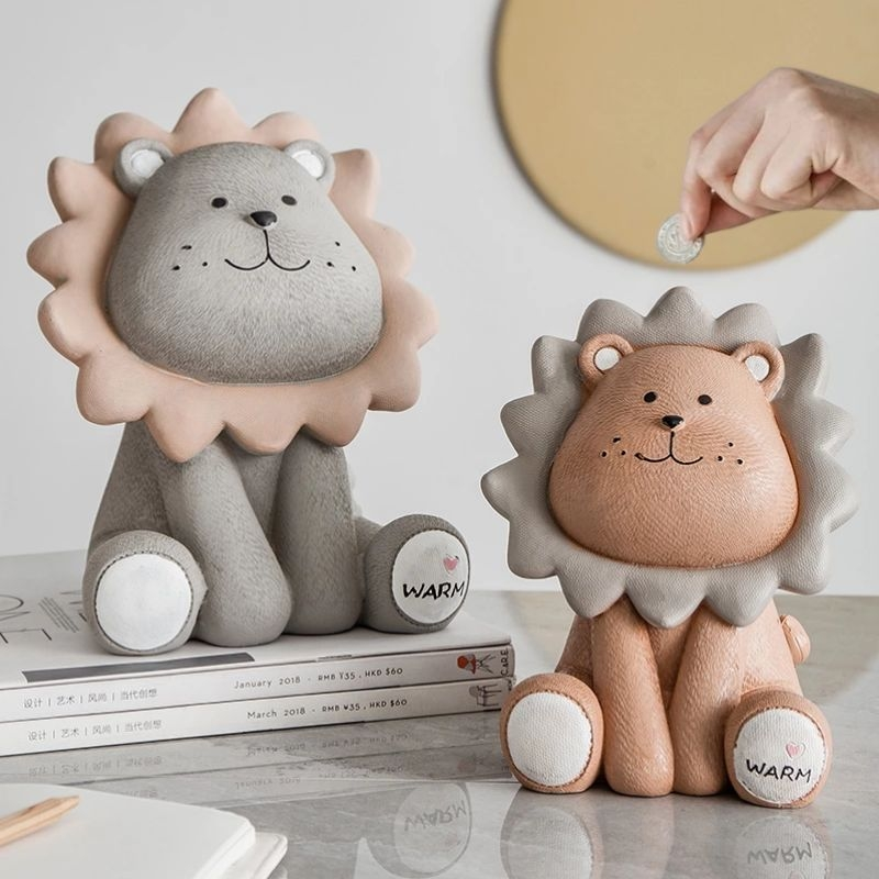 Cartoon Cute Lion Money Box Safe Box Money Creative Piggy Bank Children Coin Box Desktop Decoration Figurines Gift