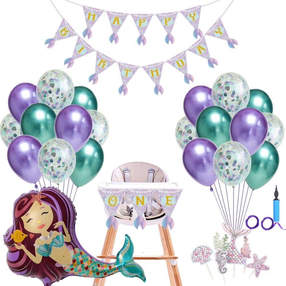 Sirène fête fournitures sirène ballon bannière décoration fête d'anniversaire faveurs enfants anniversaire dessin animé chapeau