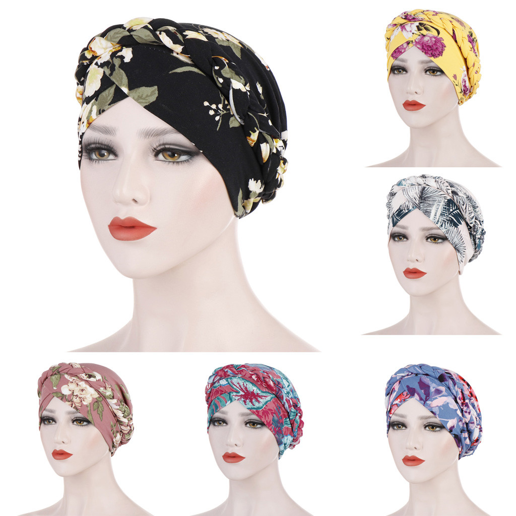 Women Floral Braid India Hat Muslim Ruffle Cancer Chemo Beanie Turban Wrap Cap Hats For Women Summer Hat Sun Hat High Quality