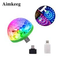 Aimkeeg RGB мини USB светодиодный Вечерние огни Портативный звук Управление магический шар 3 Вт мини красочные DJ Magic диско этапа лазерный свет для ...