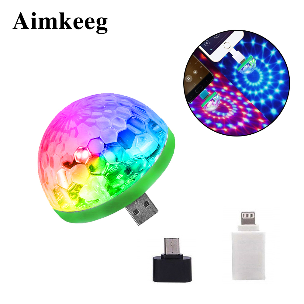 Aimkeeg RGB Mini USB LED Party Lights Portable Sound Control Magic Ball 3W Mini Colorful DJ Magic Disco Stage Lights For Mobile