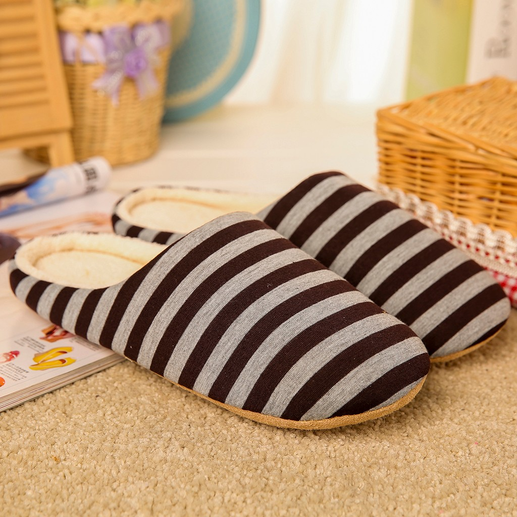 Shoes Cotton Safety Shoes Men Large Fluffy Shoes Home Soft Plush Striped Indoor Slippers Men's House Warm Winter Slippers
