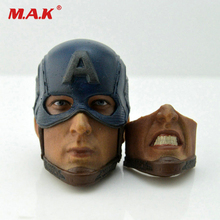 1/6 Scale Captain America Head Carved Beard Chris Evans Sculpt with helmet angry Carving 2 faces  Toys Accessories