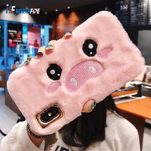 Fur Fluffy Warm Cartoon Pig Phone Case For iPhone XR/XS Max/X 6/6S/7/8 Plus Cute Winter Plush Embroidery Soft TPU Back(China)