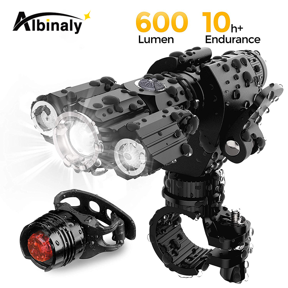 USB luz de carga de bicicleta 4 modo de iluminação LED super brilhante de três lâmpada de lanterna de alta qualidade acessórios da bicicleta à prova d' água