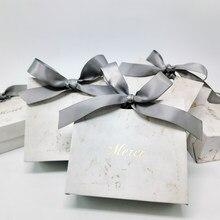 Bolsa de regalo de agradecimiento creativo, bolsa de papel para boda, Baby Shower, San Valentín, recuerdo de fiesta, cajas de dulces con patrón de mármol