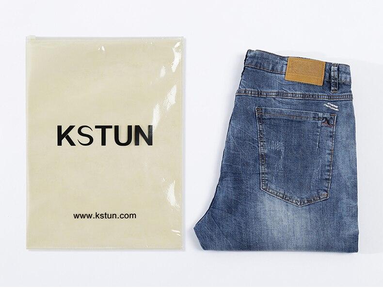 KSTUN Fashion Biker Jeans Men New Design Ultrathin destroyed Man Rip Jean Slim Fit Hiphop Stretch Blue Casual Denim Pants High Quality 21