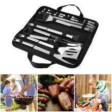 20 pçs aço inoxidável conjunto de ferramentas para churrasco churrasco grelhar utensílio acessórios kit ferramentas de acampamento ao ar livre utensílios para churrasco