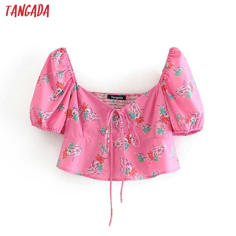 Tangada Women Pink Floral Print Summer Blouse Bow Short Sleeve Chic Female Slim Crop Shirt Blusas Femininas 3H385