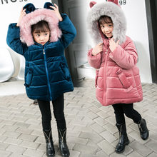цены Baby Cute Rabbit Ear Hooded Coat For Girls Kids Winter Jacket for Girls Winter Coat Hoodies with Ears Kids Warm Clothes 3-9 Year