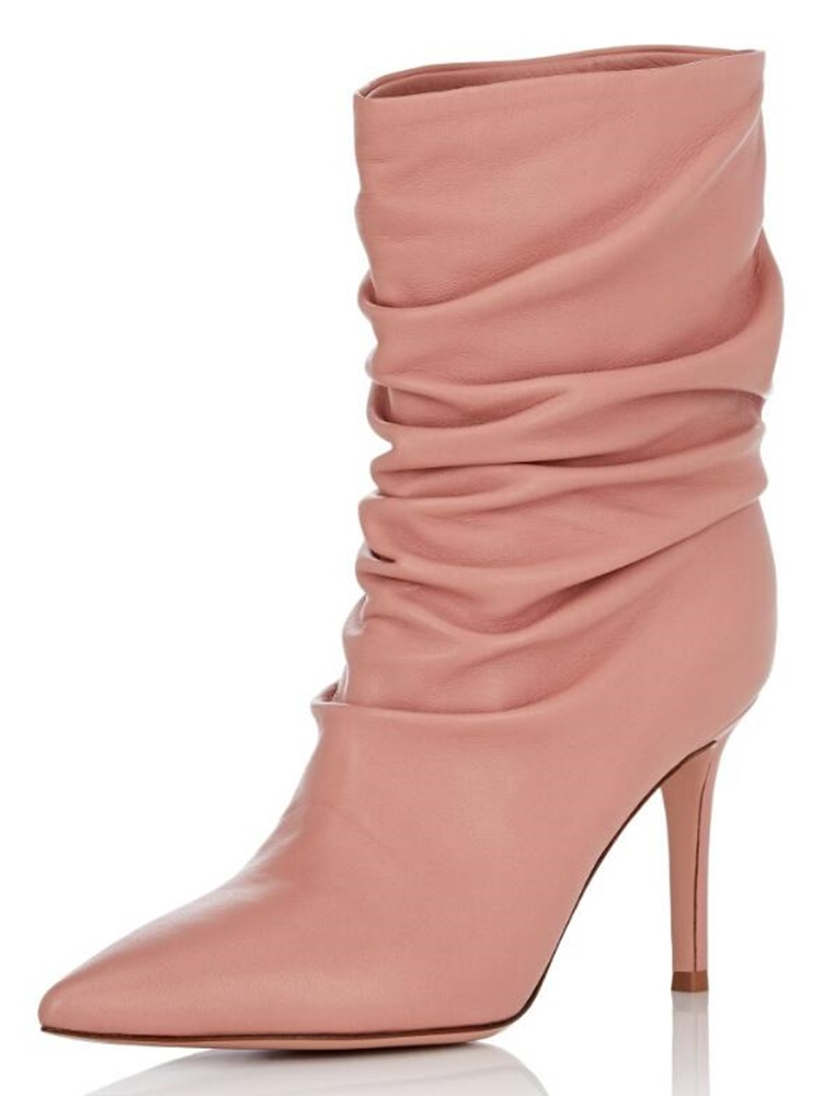 Pink Solid Mid Calf Boots Slip On High Heel Stiletto Pleated Short Boots Fashion New Arrivals Pointed Toe Color Customized