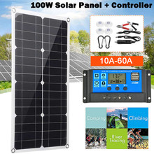 100W Solar Panel With Controller 18V Dual USB Port Outdoor Portable Battery Charger For Mobile Phone Car Yacht RV Light Charging