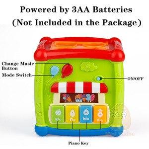 Image 4 - Çok fonksiyonlu müzikal oyuncaklar yürümeye başlayan bebek kutusu müzik elektronik oyuncaklar dişli saat geometrik blokları sıralama eğitici oyuncaklar