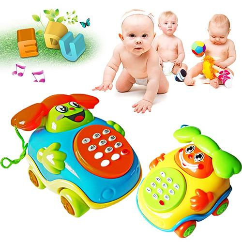 Baby Cute Smile Face Telephone Toys Plastic Colorful Kids Learning Fun Music Telephone Toy Classic Chatter Phone Car