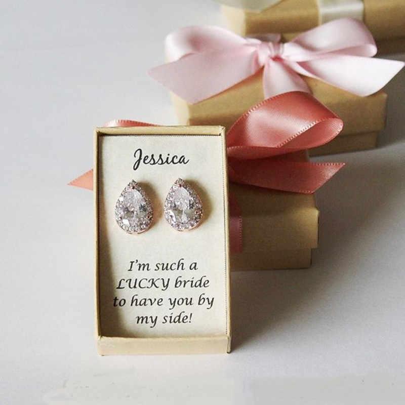 ปรับแต่งชื่ออ้างเจ้าสาวข้อเสนอของขวัญ Rose Gold tear Drop ต่างหู,เจ้าสาว WeddingCubic Zirconia ต่างหู
