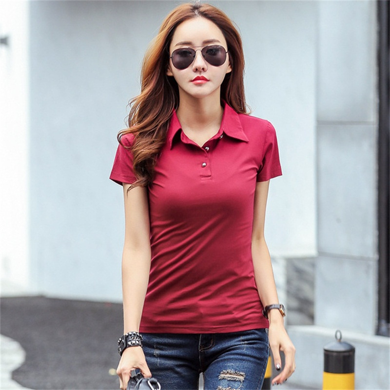 US Spring Autumn Casual Polos Women New Short Sleeve Slim Polos Mujer Black White Red Women Tops For Lady Polo Shirt Female