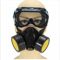 Gas Mask Dual Anti-Dust Spray Paint Industrial Chemical Gas Respirator Mask Glasses Set Black