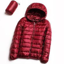 Zima kobiety kurtka puchowa Ultra Light dół 90% biały płaszcz z kaczego puchu kurtka damska z kapturem długa parka marka jakości wiosna jesień