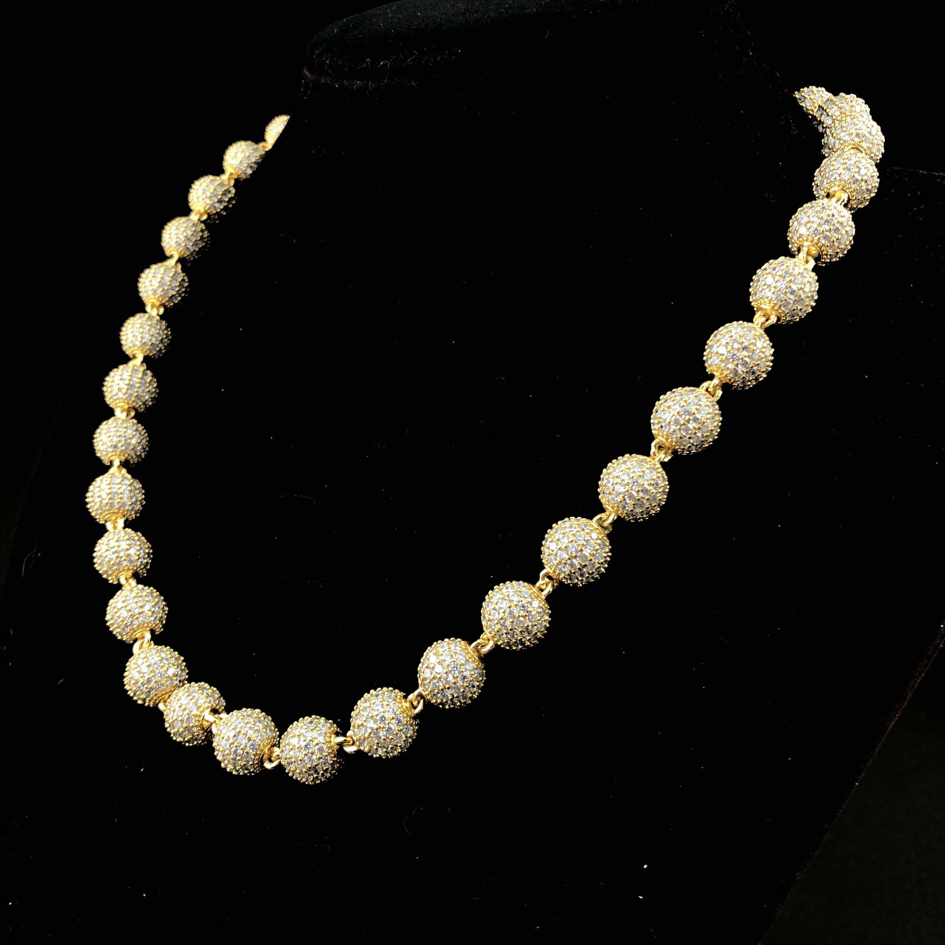Ювелирные изделия в стиле хип-хоп Золотая и белая золотая цепочка со стеклянными шариками