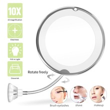 10X Magnifying Makeup Mirror Flexible Makeup Vanity Mirror with LED Lighted Mirror Make up espejo de maquillaje aumento