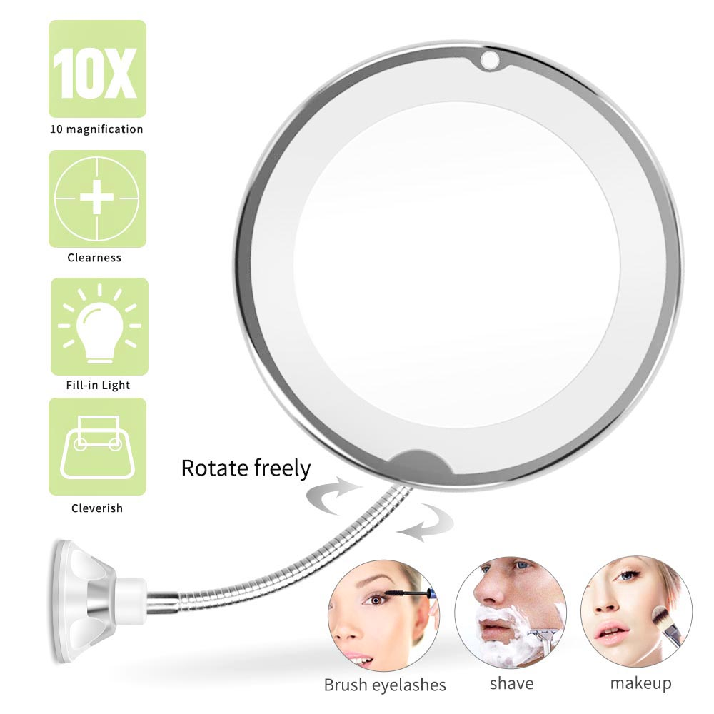 10x espelho de maquiagem de amplia o flex vel espelho de maquilhagem com led iluminado espelho