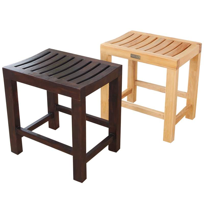 Solid Wood Short Stool Bathroom Anti-corrosion Small Wooden Bench Shower Room Old Man Bath Special Seat Slip Non-slip Waterproof