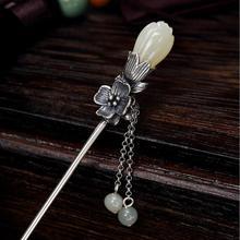 Hair-Accessories Flower-Thai Retro Silver Women for Pendant Hetian Magnolia White Chinese