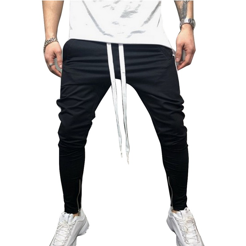 New Gyms Pants Men Sweatpant Hip Hop Solid Color Strip Sportswear Fitness Joggers Trousers Mens Streetwear Track Pants Casual