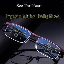 Óculos de leitura multifocal progressivo homem meia armação de metal presbiopia anti luz azul leve liga quadrada gafas