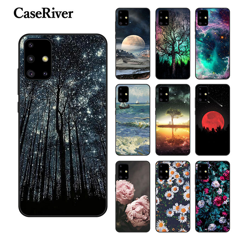 FOR Samsung A51 Case Phone Back Protective Shell FOR Samsung Galaxy A71 Cover Black Silicone Landscape Bumper A 51 71