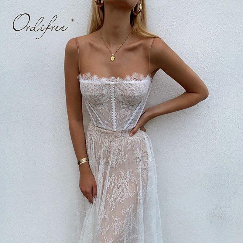 Ordifree 2019 Summer Women Long Party Dress Sexy Spaghetti Strap Sleeveless White Lace Maxi Dress