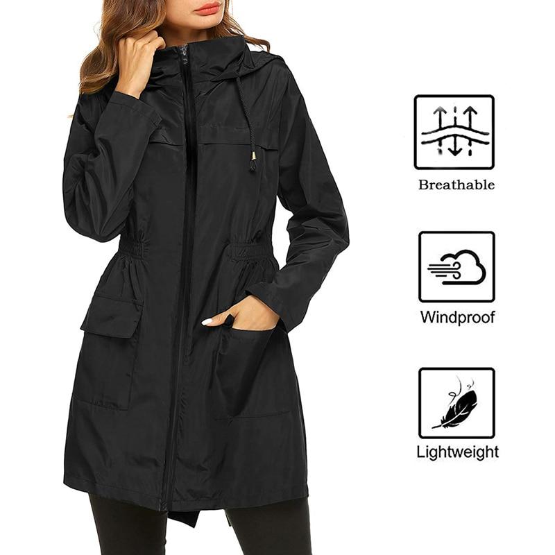 2019 Women Waterproof Packable Hooded Jacket Outdoor Hiking Clothes Lightweight Raincoat For Women