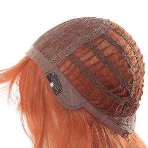 Image 5 - L email peluca larga de pelo ondulado para mujer, peluca de estilo Harajuku para Halloween, pelo sintético resistente al calor, color naranja