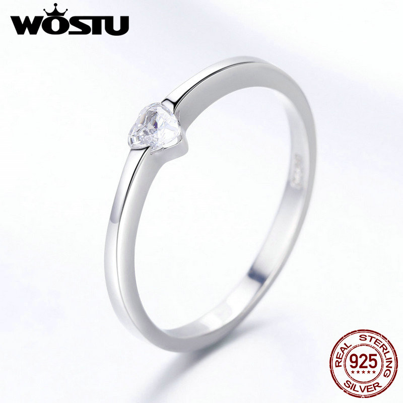 WOSTU Romantic Real 925 Sterling Silver Heart CZ Finger Rings For Women Brand Wedding Ring Anel Brand Jewelry Gift FIR450