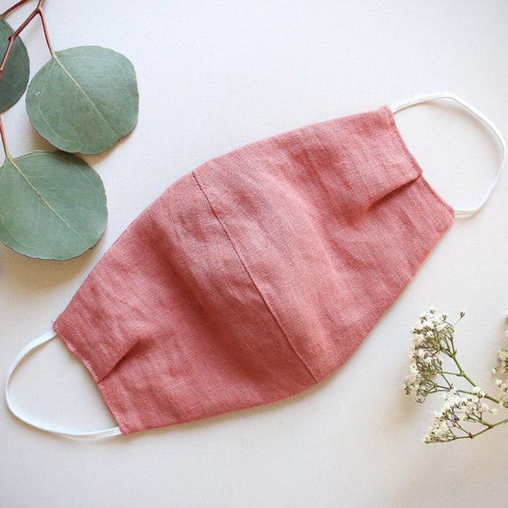 Adulto natural linho fresco boca capa à prova de poeira lavável e reutilizável máscaras verão ao ar livre protetor solar fino rosto d1