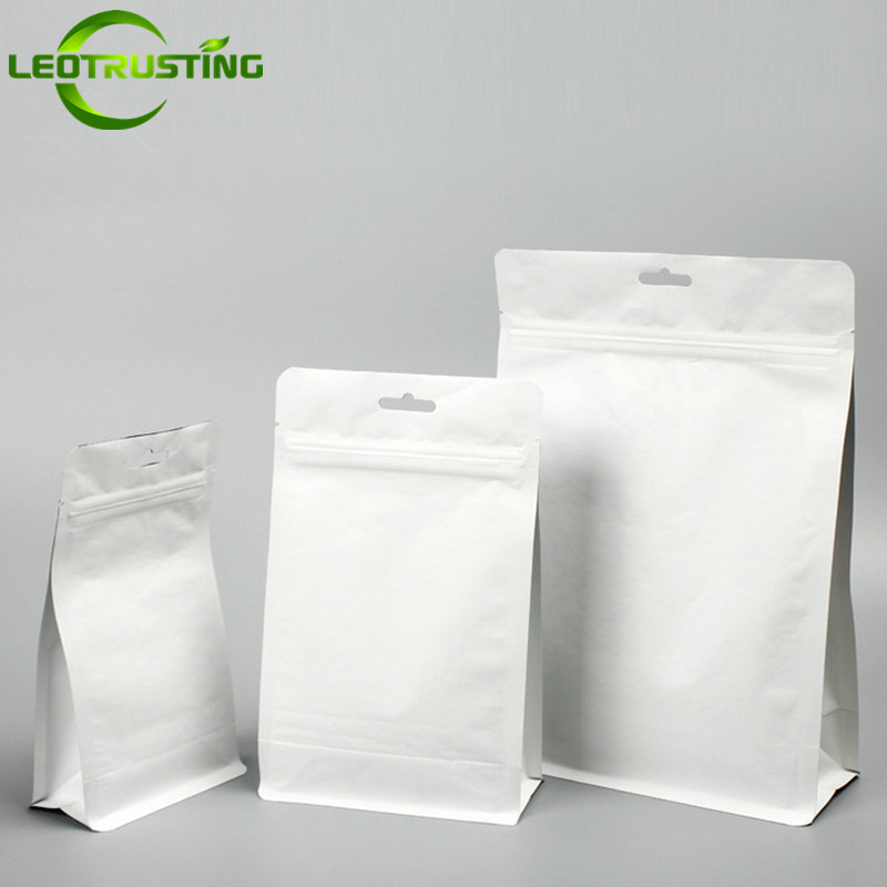 Loetrusting 50pcs White Stand up Paper Bag Coffee Beans Nut Food Cookie Packaging Ziplock Bags White Gifts Hanging Storage Bag