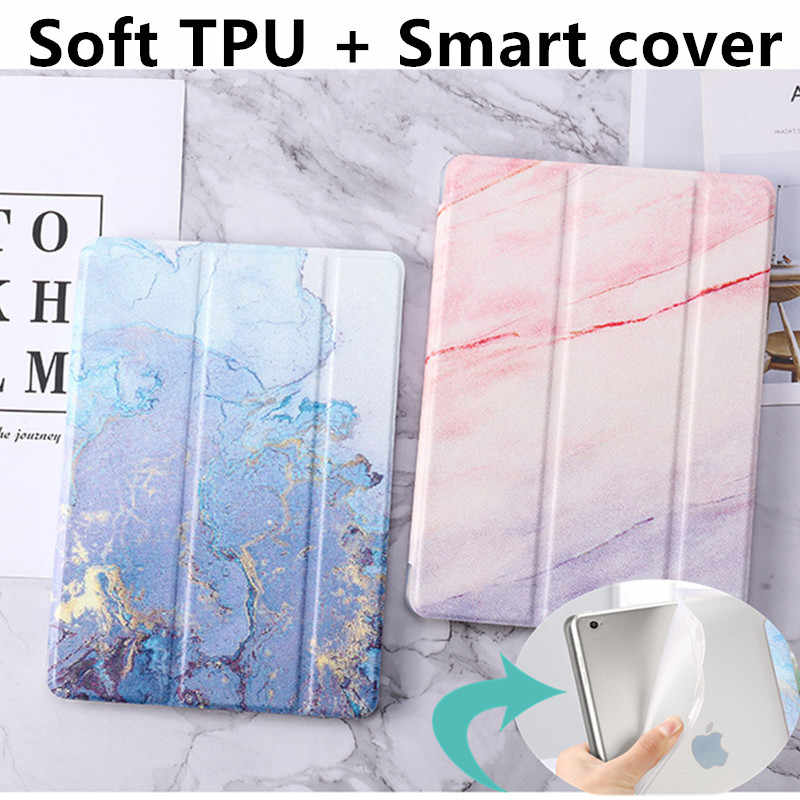 Untuk Ipad 9.7 2018 2017 5/6th Case Marmer Kulit Smart Cover untuk iPad Air 1/2 Mini 1 /2/3/4/5 iPad 2/3/4 Air 10.5 Pro9.7 Case