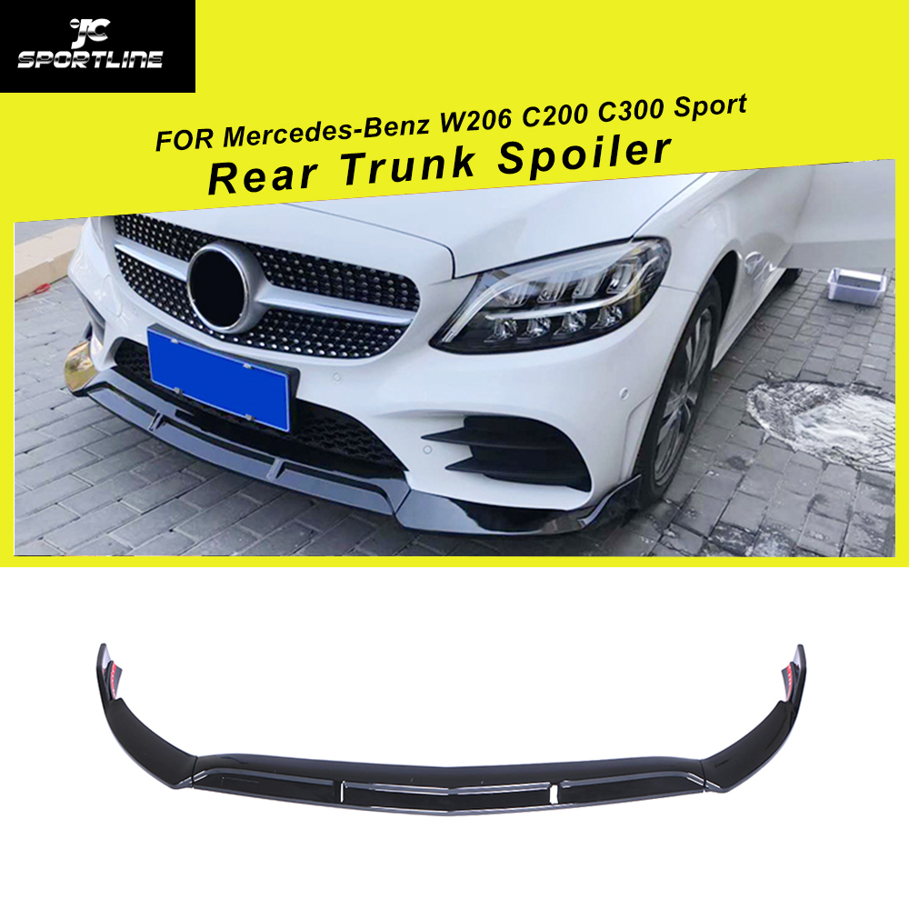For Mercedes-Benz C Class <font><b>W205</b></font> C200 <font><b>C300</b></font> Sport 2019 Front Bumper Lip Splitters ABS Glossy Black 3PCS/SET image