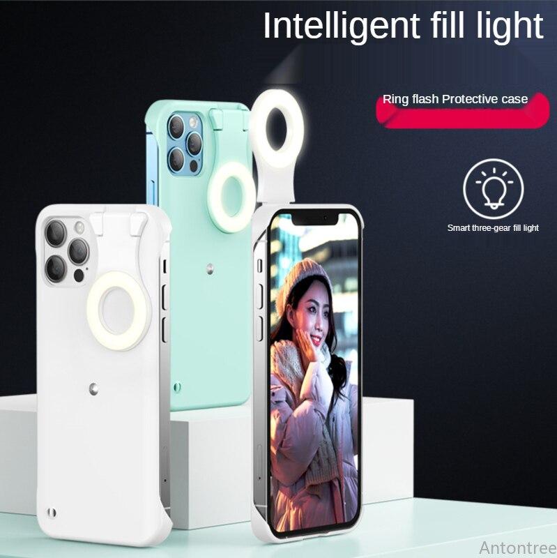 Enhance Light Selfie Case For iPhone 12 11 Pro Max 12Pro X Xs Max Luminous Circle