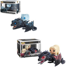 цена на Original Funko POP Game of Thrones Ice and Fire Juguetes Daenerys Rides Drogon PVC Action Figure Collectible Model Gift 2F02