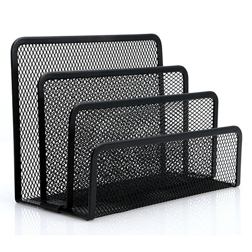 1Pc Black Metal Mesh Letter Sorter Mail Business Document Tray Desk Office File Organiser Holder Suitable For Office