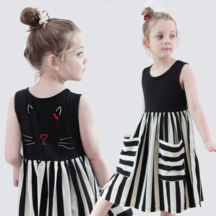 2020 verão bordado meninas vestido bonito crianças vestidos de praia bebê meninas listra retalhos vestidos crianças vestidos casuais, #8624