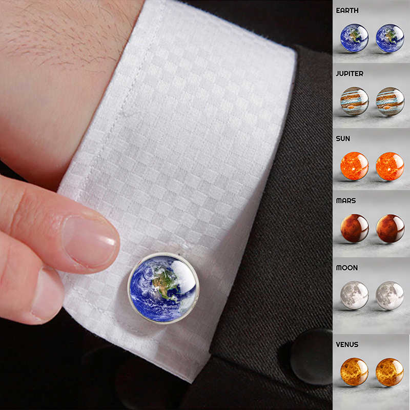 Moon Solar System Planet For Men Wedding Cufflinks Galaxy Nebula Earth Sun Jupiter Jewelry Suit Shirt Silver Cuff Links Gift