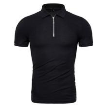 Прямая поставка, новинка, летняя Хлопковая мужская рубашка поло, однотонная, облегающая, на молнии, из кусков, Мужская рубашка поло, модная, деловая, повседневная, мужская рубашка Поло