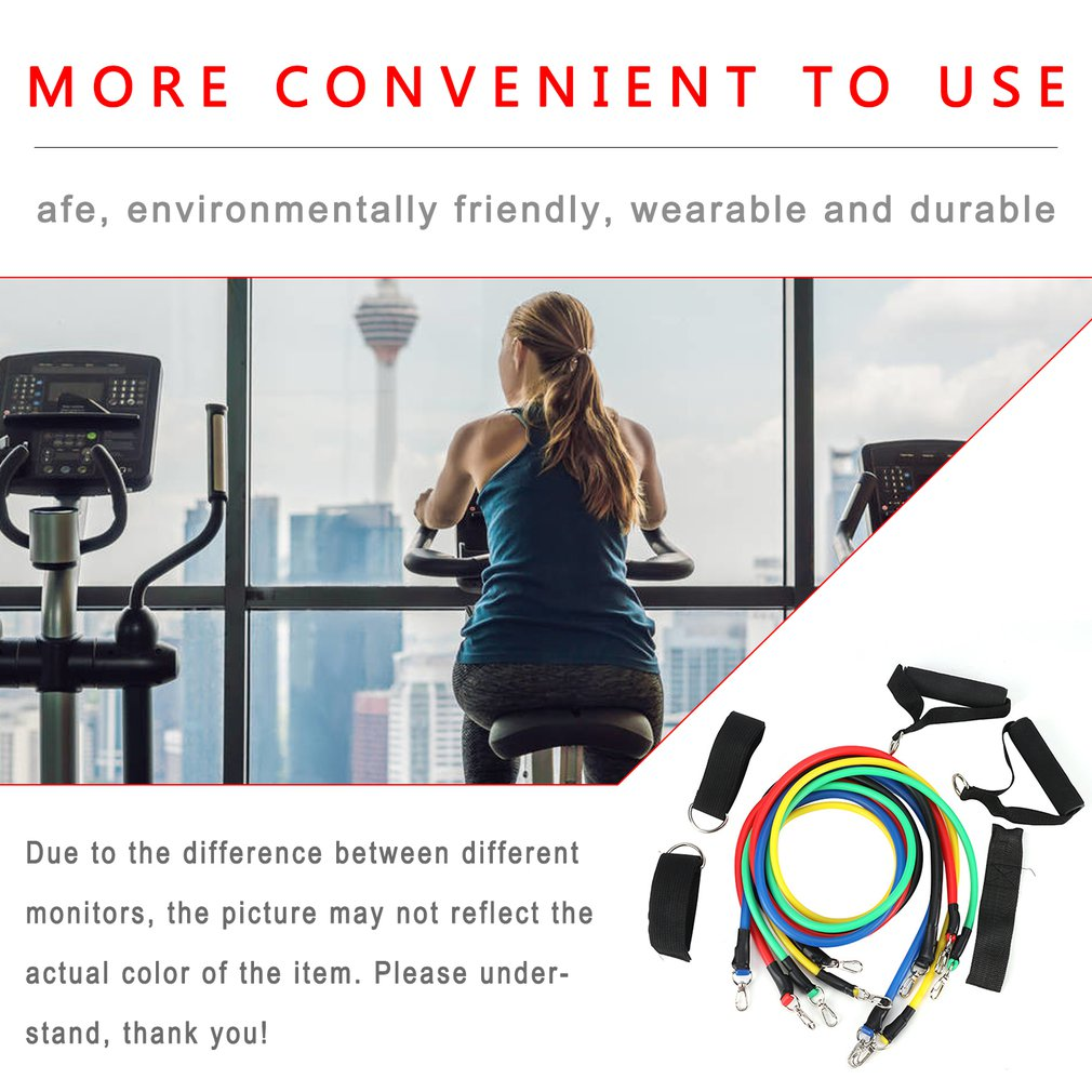 11 Pcs Fitness Pull Rope Resistance Bands Neutral Latex Strength Gym Equipment For Home Elastic Exercises Body Fitness